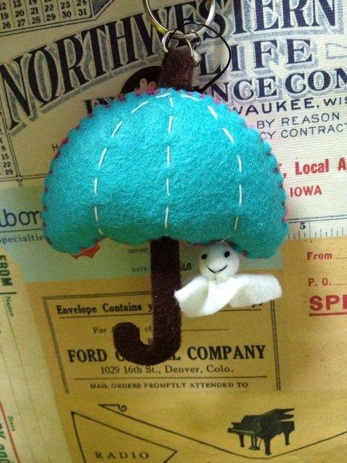 『聖誕禮物』啾咪鑰匙圈-雨傘與晴天娃娃(輕壓可以發出聲音)