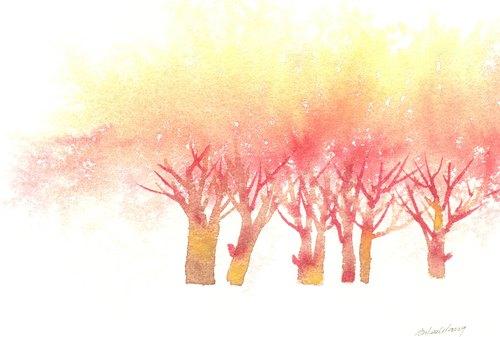 """""""疗愈系树林系列1-32""""水彩手绘限量版明信片/贺卡"""