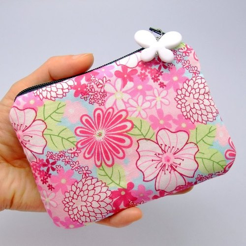 拉鍊零錢包,卡片包,鑰匙包,耳機包,小物包 (粉紅花兒) (ZS-50)