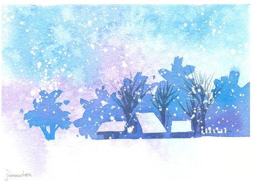 """圣诞卡片""""疗愈系树林系列1-99""""水彩手绘限量版明信片/贺卡"""