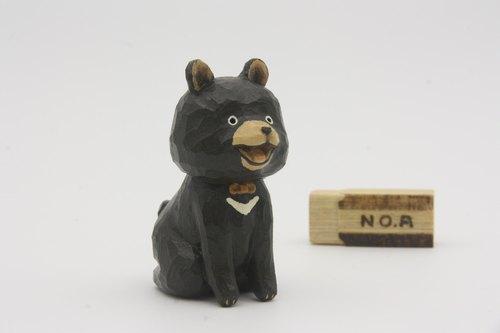 疗愈系木雕小动物_熊贵人_黑色 bear (原木手工雕刻)