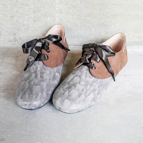 升級版【英倫公主】緞帶蝴蝶結爵士鞋-謎樣灰/駝