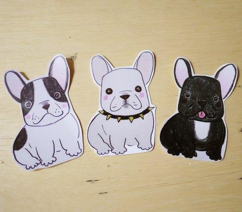 手绘插画风格 完全防水贴纸 法国斗牛犬 波士顿梗犬