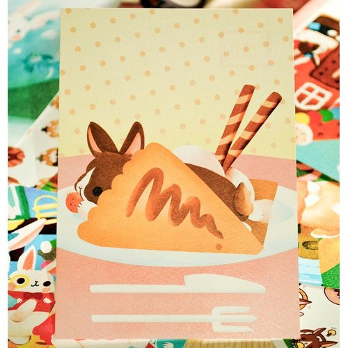 小兔甜點明信片*可麗餅