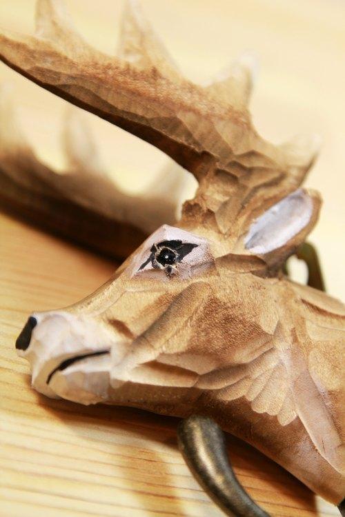 可爱鹿头造型纯手工木头雕刻挂