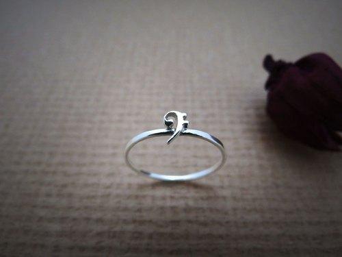 c%手工饰品:: 小音符系列 - 低音谱号 (纯银戒指) 银饰 交换礼物