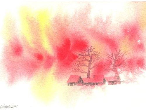 """圣诞卡片""""疗愈系树林系列1-20""""水彩手绘限量版明信片/贺卡"""