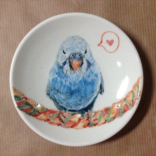 虎皮-鹦鹉手绘小碟