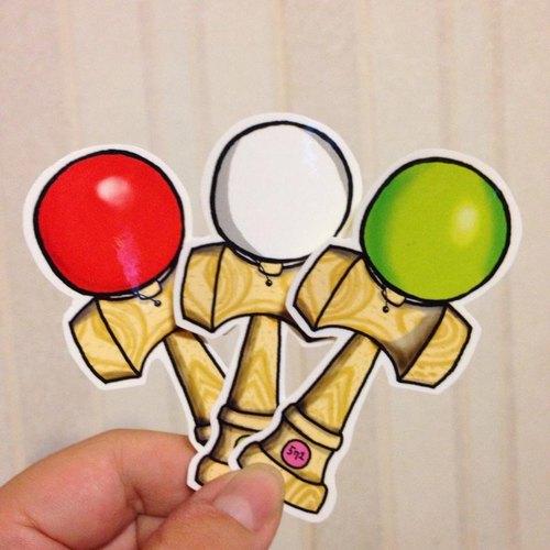 571/ KENDAMA!劍玉貼紙 (3色)