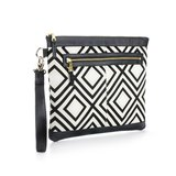 Graphic Textile mix Leather Clutch Bag│Geometry