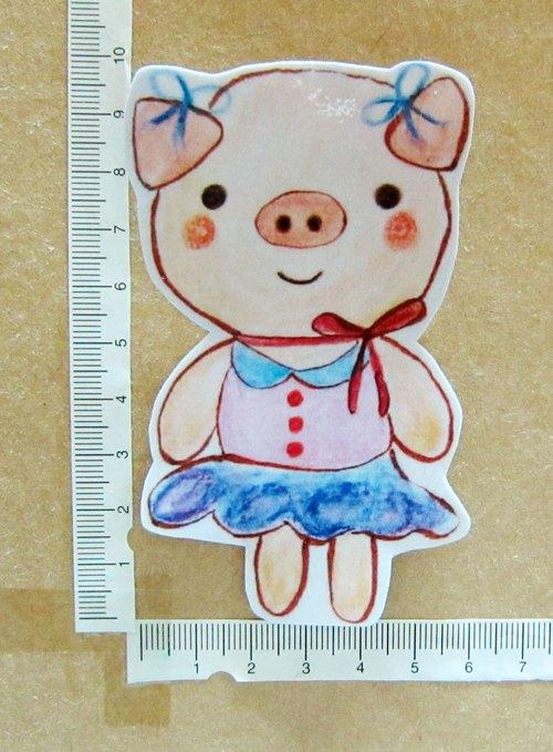 手绘插画风格 完全防水贴纸 猪美女 - 毛球工坊 羊