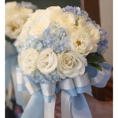 漫花草-浅蓝色绣球新娘捧花 客制化婚礼捧花 欧式鲜花
