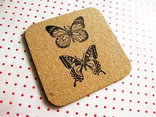 Apu橡皮章手工蝴蝶方形軟木杯墊/隔熱墊 C款