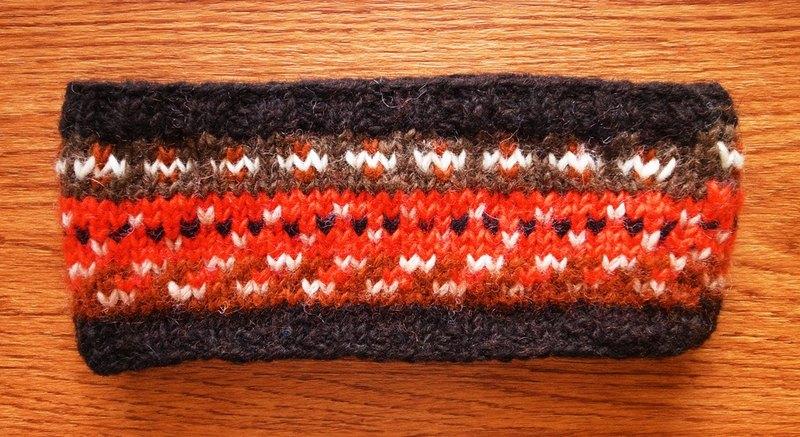 羊毛手工编织头带 发带 橘 咖啡