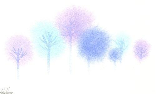 「疗愈系树林系列1-16」水彩手绘限量版明信片/圣诞卡