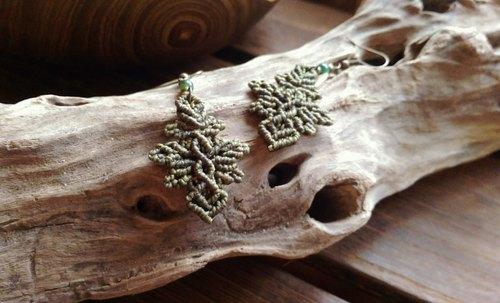 绿玛瑙南美蜡线手工编绳耳环