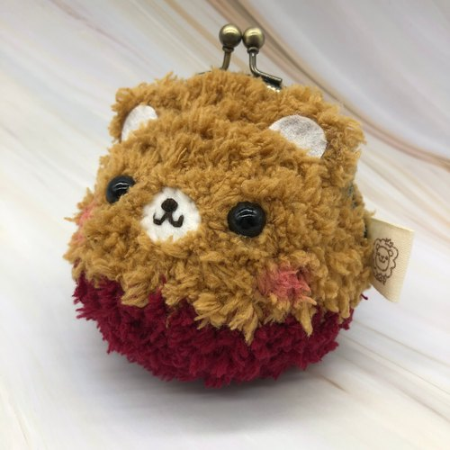 毛线编织动物零钱包 口金包-焦糖熊