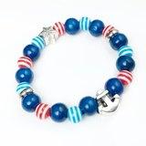 「紅藍條紋 x 船錨銀飾」-串珠款