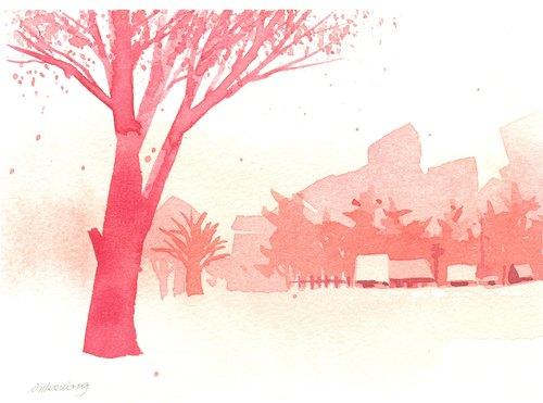 「疗愈系树林系列1-17」水彩手绘限量版明信片/贺卡