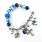 「藍水晶 x 銀鍊吊飾」