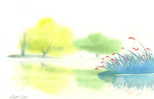 """""""疗愈系树林系列1-56""""水彩手绘限量版明信片/贺卡"""
