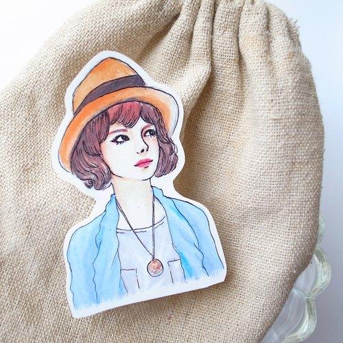 Bon Bon Stickers 妃炫少女 半身 貼紙(草帽項鍊少女)