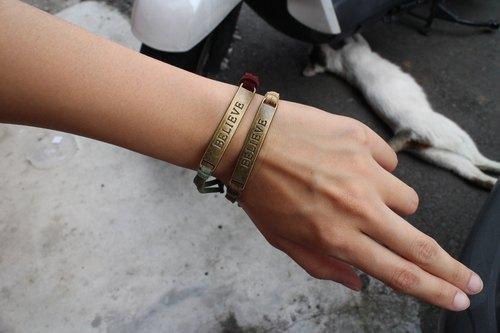 手環編織--韓國麂皮絨 【BELIEVE】相信之信
