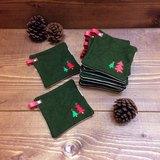 //聖誕新品// 紅紅綠綠大小聖誕樹。杯墊