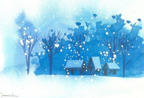 """圣诞卡片""""疗愈系树林系列1-89""""水彩手绘限量版明信片/贺卡"""