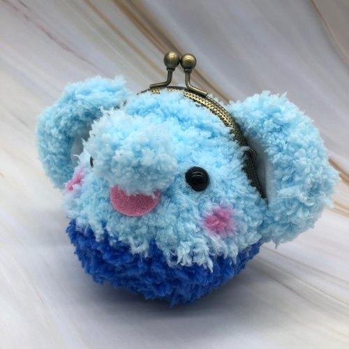 毛线编织动物零钱包 口金包-大象