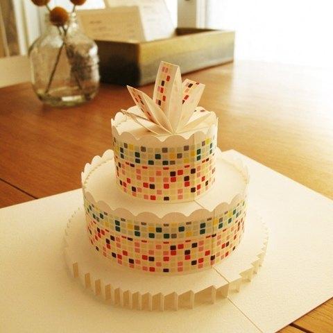 立体纸雕蛋糕卡-马赛克砖
