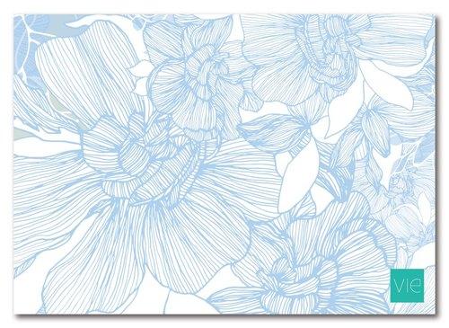 【明信片】栀子花,白花蓝 - vie 印花图案设计