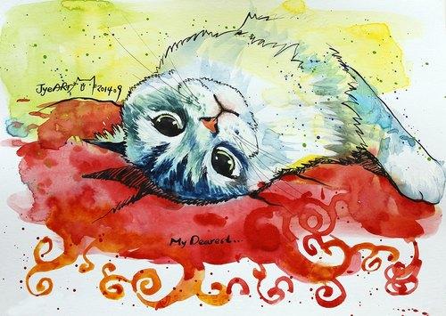 [喵信片] 水彩手绘猫 - 小熊猫 (单张购买区)