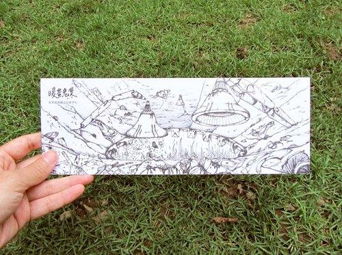 【暖画危集 黑谷-垃圾山明信片】 单张 / 创意设计 黑白 手绘风 插画图片