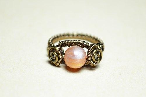 日长石(太阳石)设计戒指-金属线/手工/水晶/铜线