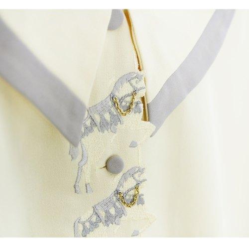 [少女心] 精细独角兽刺绣薄款衬衫:vintage 古著