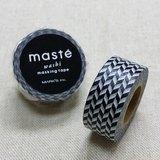 日本 maste 和紙膠帶 Basic 限定系列【編織格紋/黑白 (MST-MKT41-BK)】