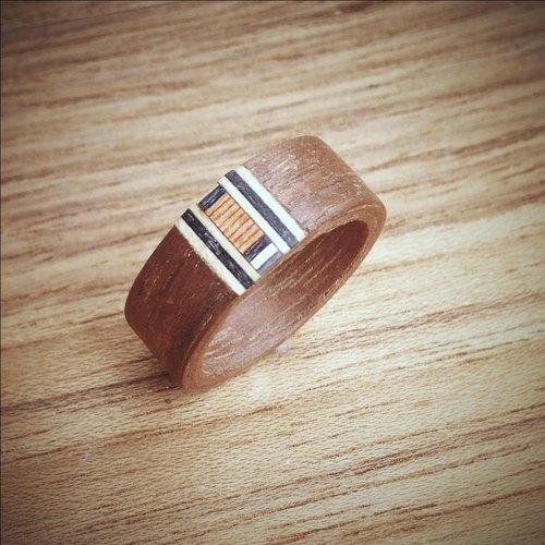 镶嵌系列木头戒指胡桃木2