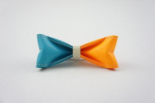 十分设计 手工制作双色领结(纸领结,蝴蝶结,领带)《双色 天空蓝x亮澄