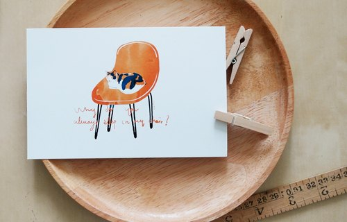 Postcard cat on chair 4x6 in