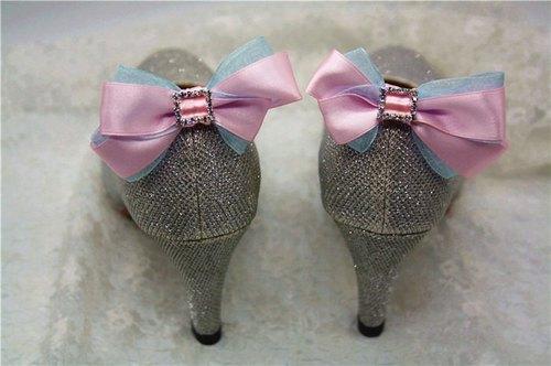 粉红拼蓝 闪烁水晶 可爱公主 蝴蝶结 鞋饰 婚宴鞋 高跟鞋饰品 气质