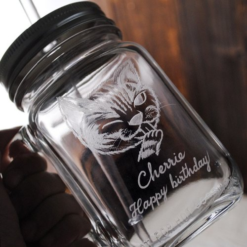 500cc【MSA Q版貓咪寵物杯】復刻玻璃罐飲料馬克杯(含強化玻璃環保吸管) 貓