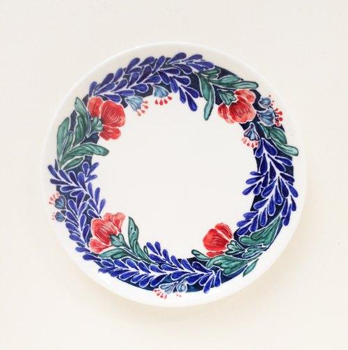 手绘7寸蛋糕盘 餐盘-宝蓝色花圈