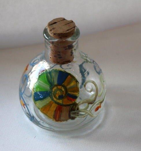 手绘玻璃瓶之海鹦鹉