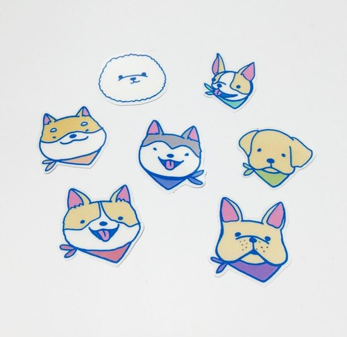 小狗贴画怎么贴-领巾狗狗贴纸