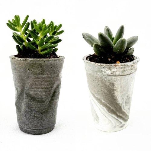 Crushed & Marbleous Concrete Succulent Planters