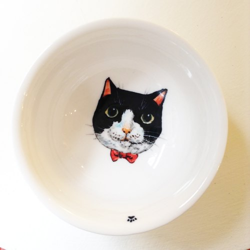 手绘大茶杯-黑白花宾士猫