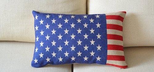 创意美式乡村 美国星条国旗 棉麻靠垫腰枕套