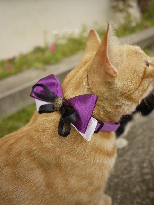 安全手作 猫狗 宠物项圈/颈带/领结 精致蝴蝶结缎带 神秘紫 独特小