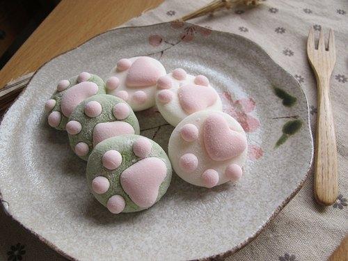 治癒系● 軟綿綿貓掌棉花糖【抹茶/柚子】組合